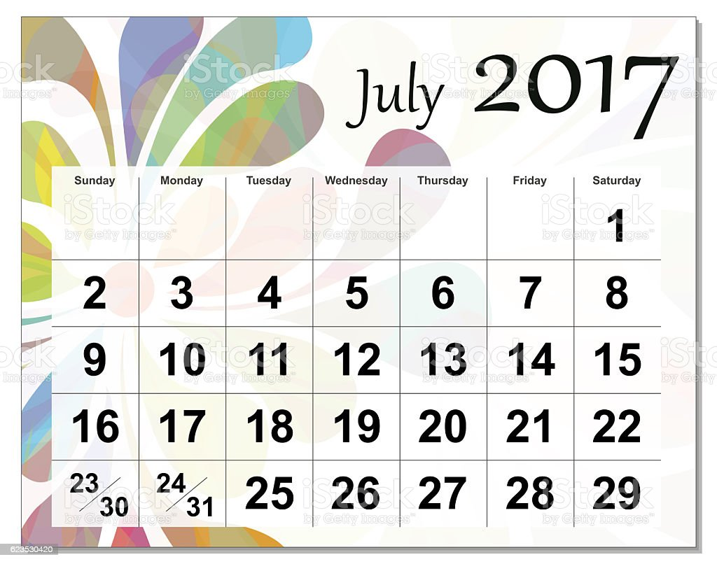 Eps10 File July 2017 Calendar Stock Photo & More Pictures of