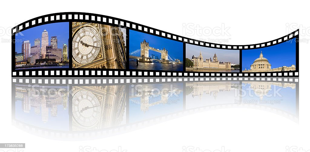 file strip with London England landmarks stock photo