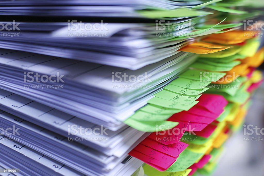 file with post-its royalty-free stock photo