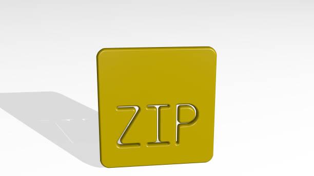 光の背景に影を持つ光沢のある金属彫刻の3dイラストで作られたファイルジップ。アイコンとビジネス - business icon eps ストックフォトと画像