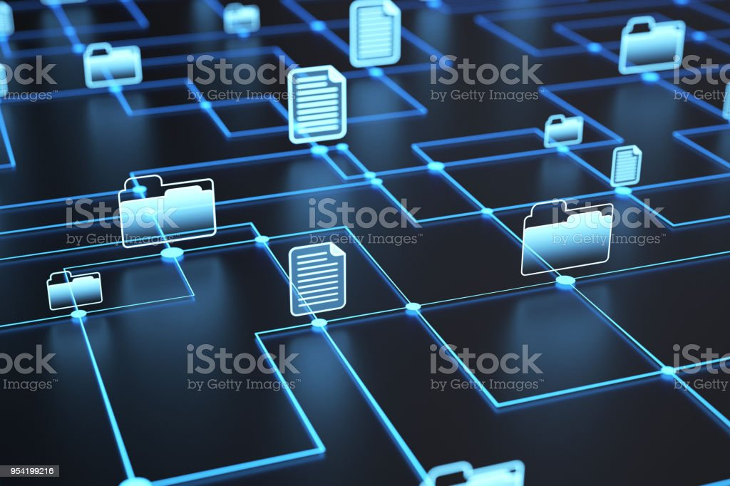 Files and folders network stock photo