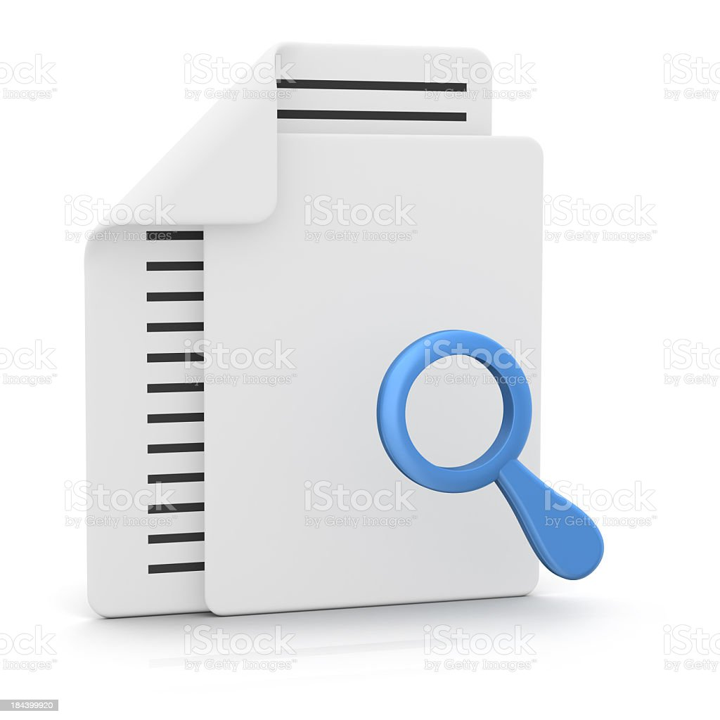 Files and Magnifying Glass royalty-free stock photo