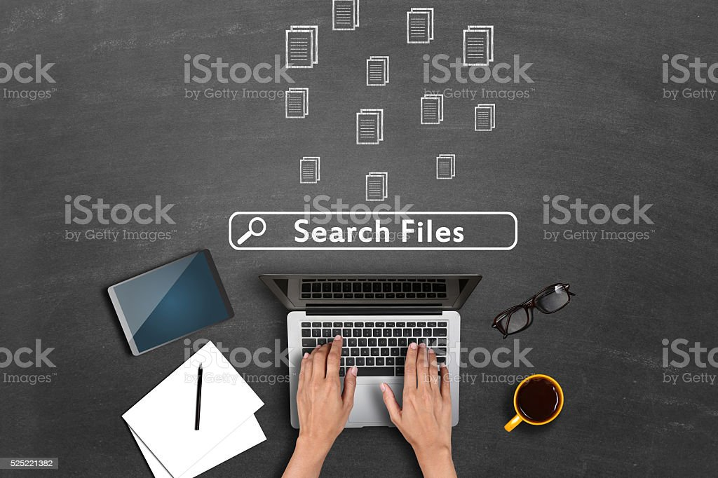 Files icons on blackboard stock photo