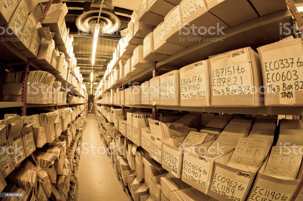 """files in a archive """"many File Folders in a archiveFisheye lens used, toned image"""" Accessibility Stock Photo"""