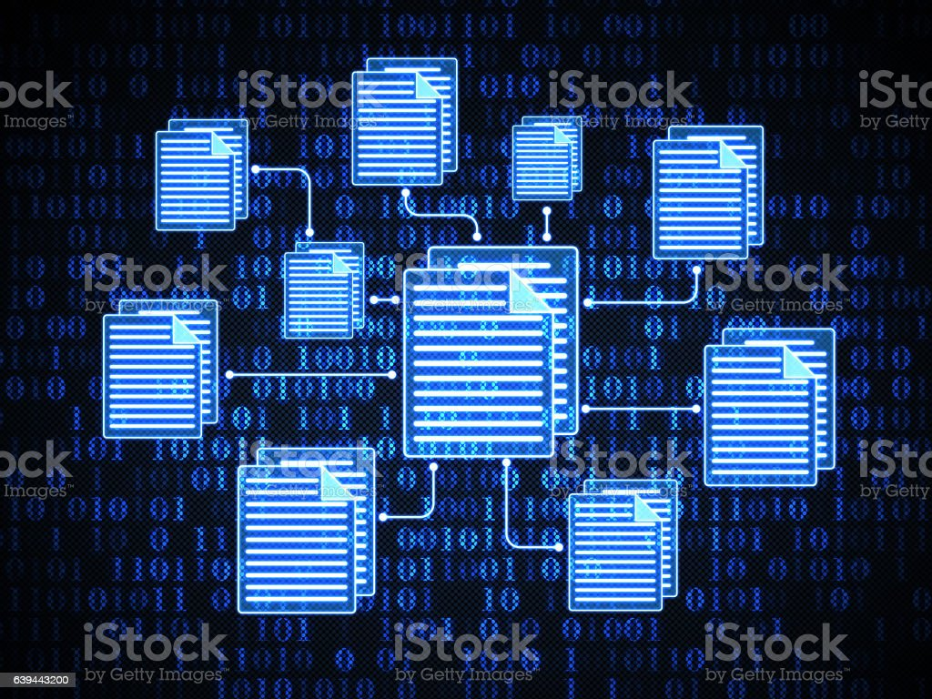 Files on digital background stock photo
