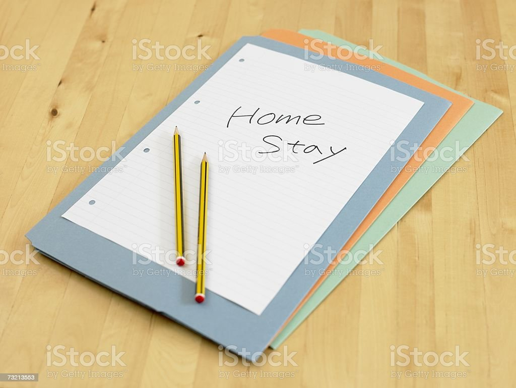 Files with paper and pencils royalty-free stock photo