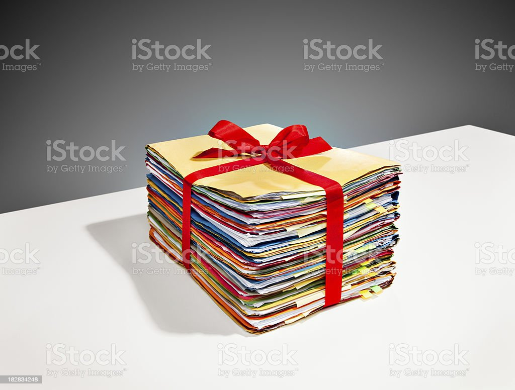 Filestack wrapped with a Bow royalty-free stock photo