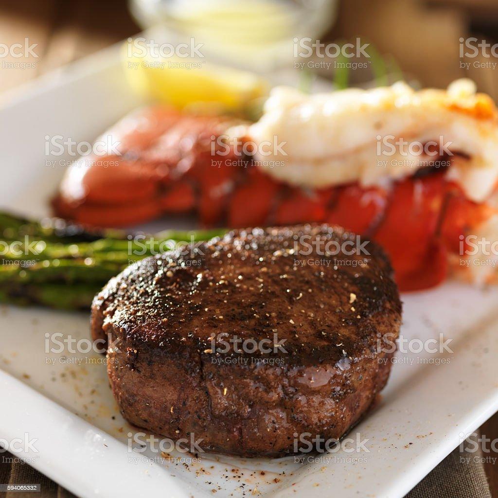 filet mignon and tasty lobster tail close up stock photo