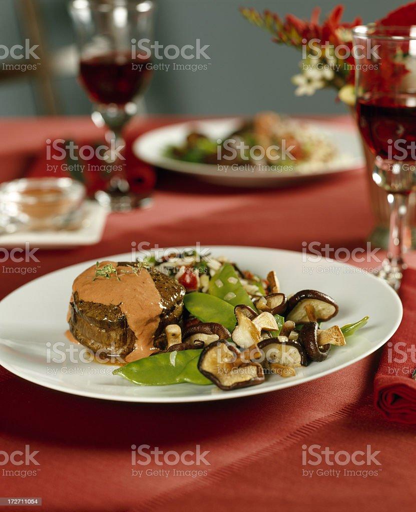 Filet Mignon/ Beef Tenderloin with sauce royalty-free stock photo