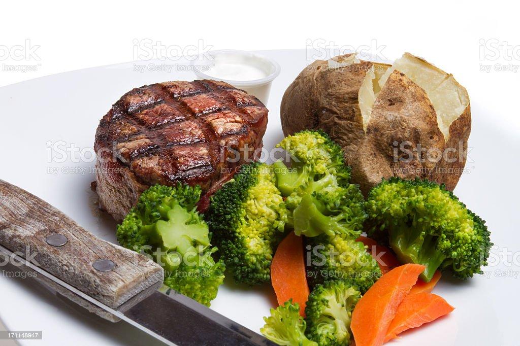 Filet Mignon, Broccoli and Baked Potato stock photo