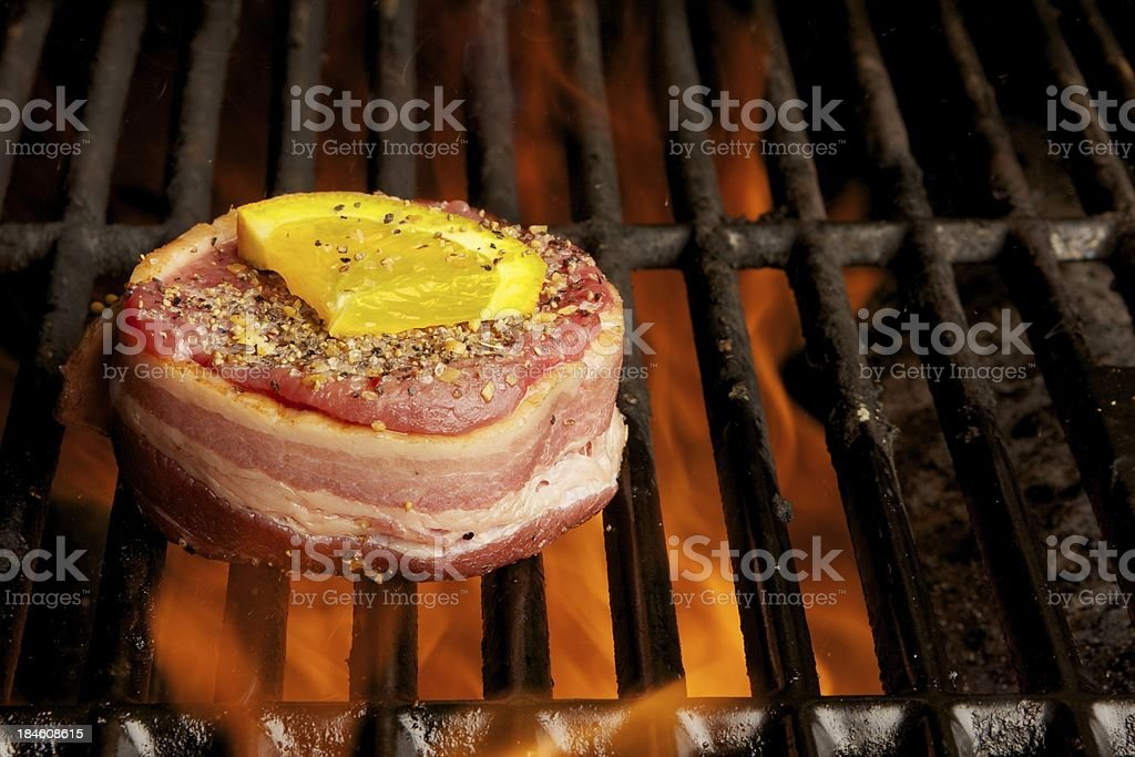 Filet mignon on the grill royalty-free stock photo