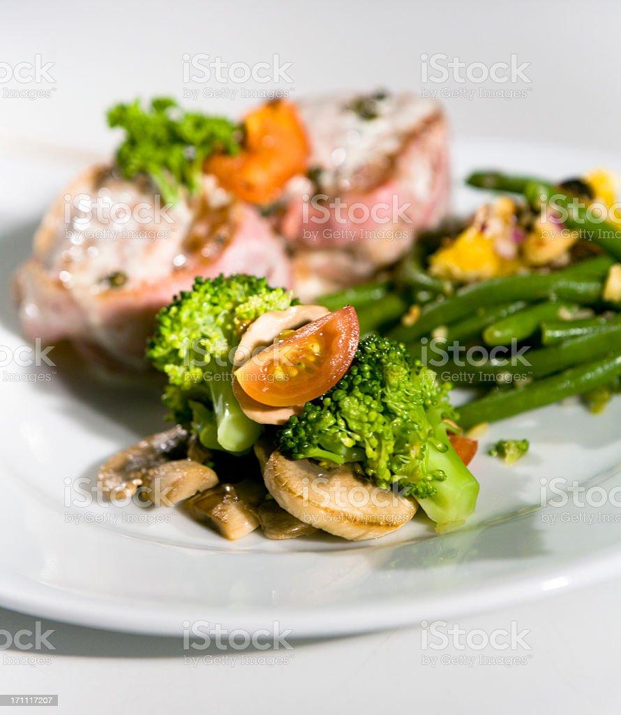 Filet Mignon served w. vegetables. royalty-free stock photo
