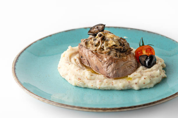 Filet Mignon served with mashed potatoes stock photo