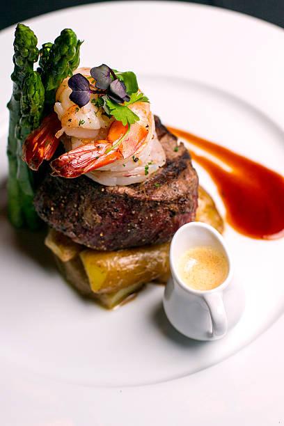 Filet Mignon w/ Shrimp Filet Mignon with sautéed shrimp, smoked  main course stock pictures, royalty-free photos & images