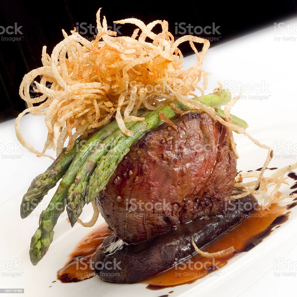 Filet Mignon with Asparagus stock photo