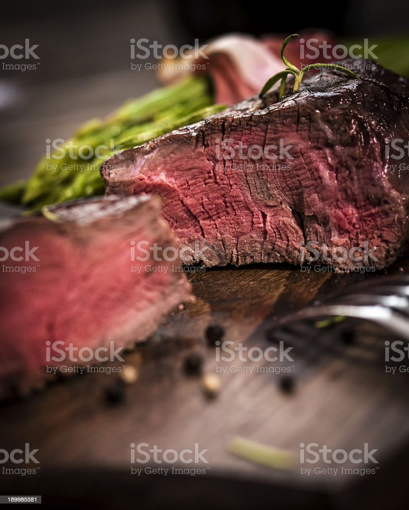 Filet Mignon with Asparagus stock photo