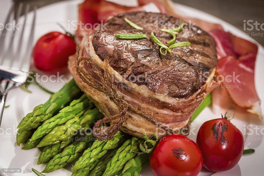 Filet Mignon with Asparagus royalty-free stock photo