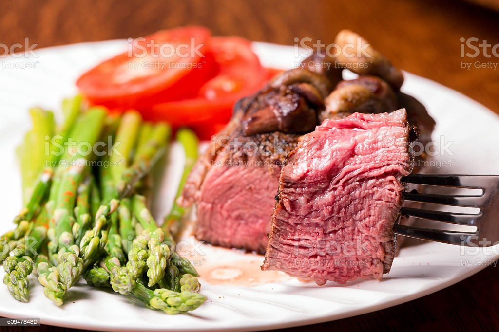Filet Mignon with Bite Cut Out stock photo