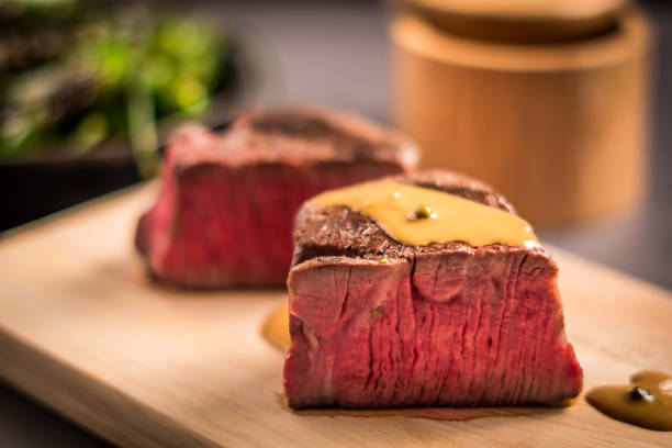 Filet Mignon with Green Peppercorn Sauce stock photo