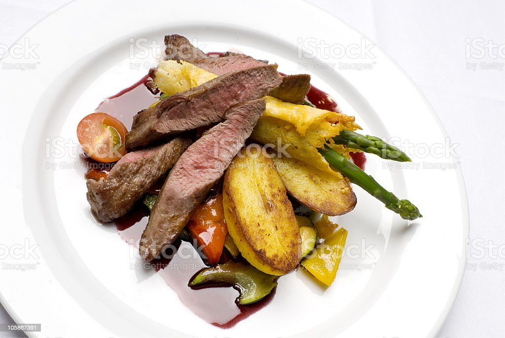 Filet of lamb on white plate royalty-free stock photo