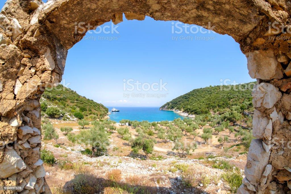 Filiatro Beach Ithaca Island Greece (Ithaka or Ithaki) stock photo