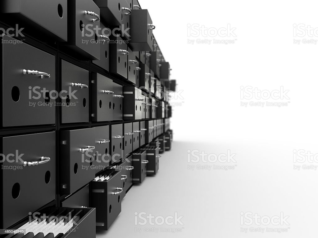 Filing cabinet, 3D stock photo