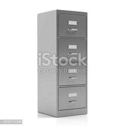 istock Filing cabinet isolated on white background. 3d illustration 1025773706
