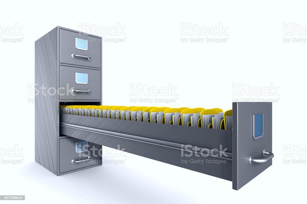 Aktenschrank auf weißem Hintergrund. Isolierte 3D-Illustration – Foto