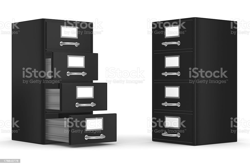 Filing cabinet on white. Isolated 3D image royalty-free stock photo