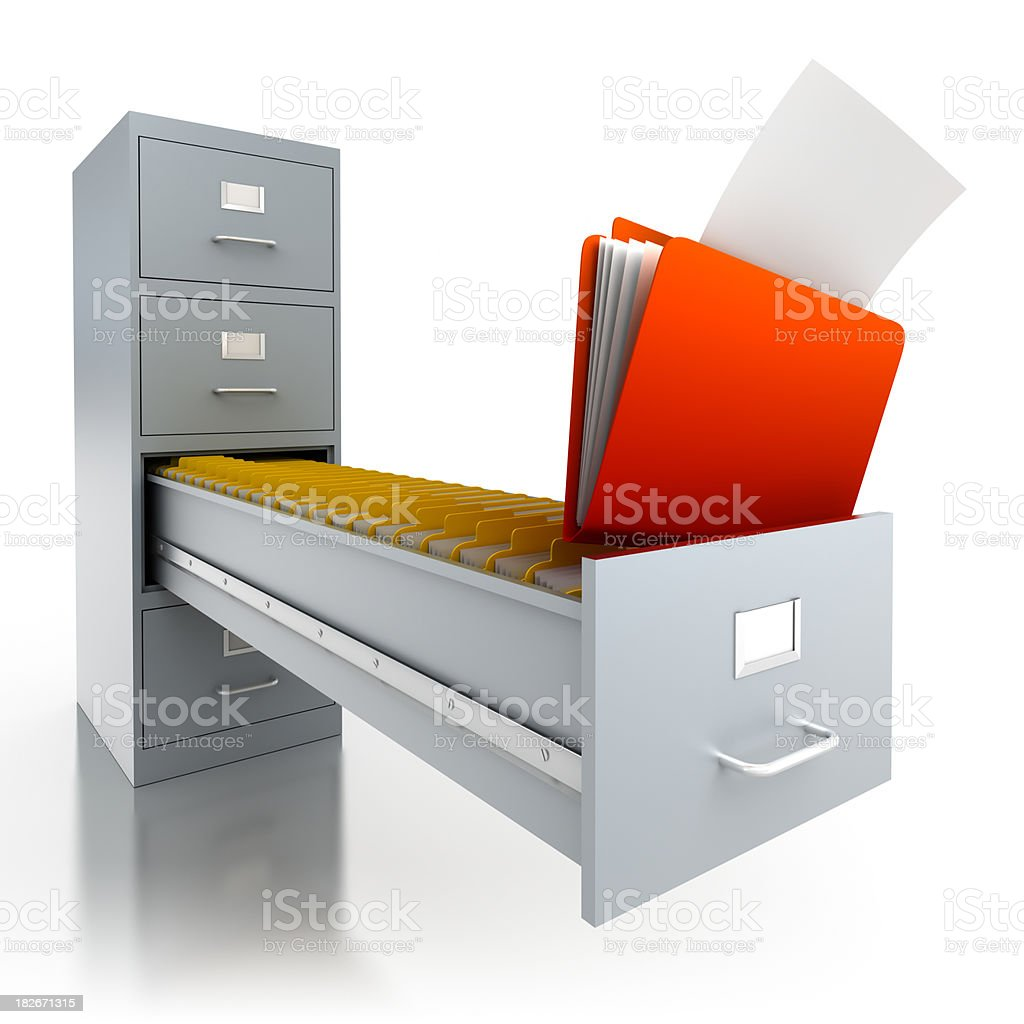 Filing cabinet with folders in deep drawer - isolated/clipping path royalty-free stock photo