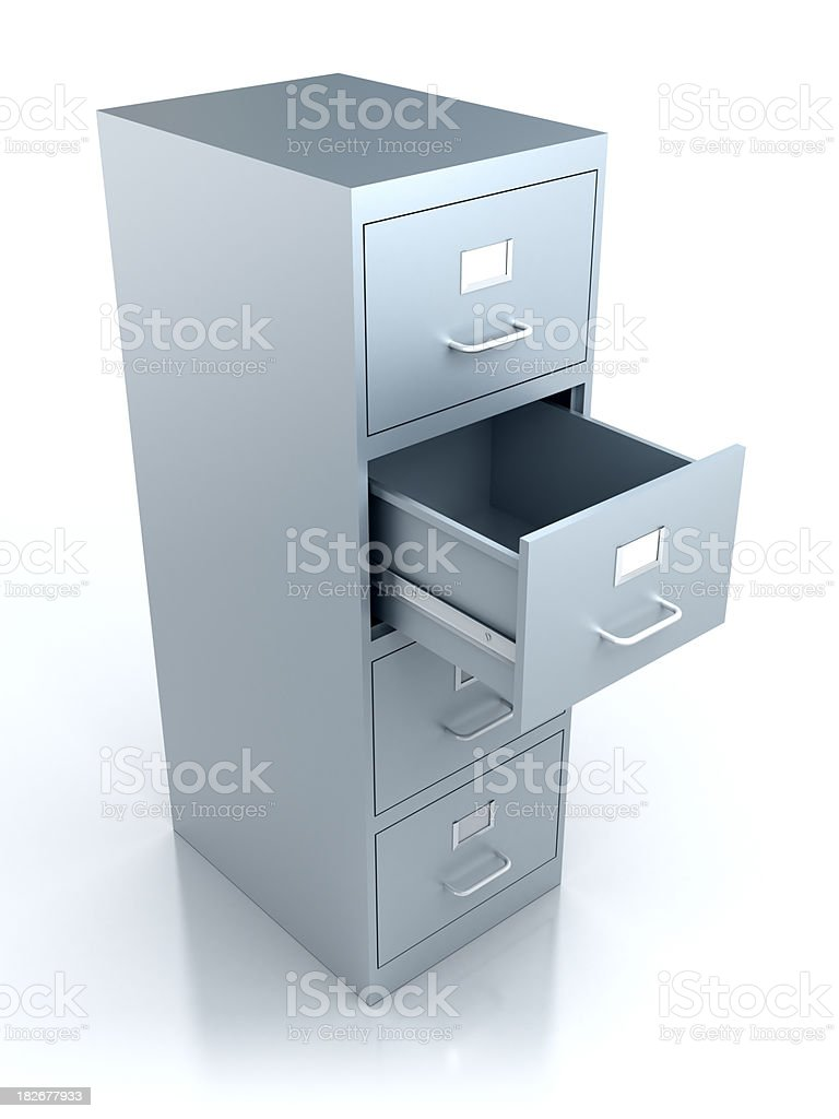 Filing cabinet with open drawer - isolated w. clipping path royalty-free stock photo