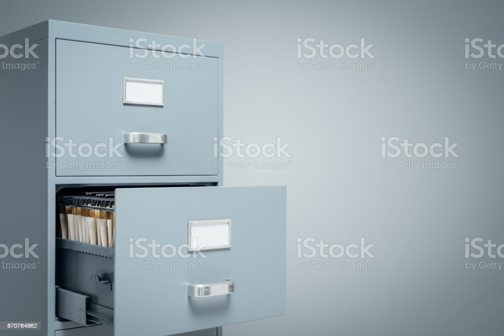 Filing cabinets and data storage stock photo