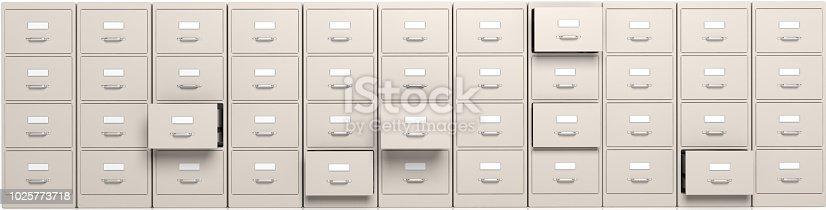istock Filing cabinets and open drawers. 3d illustration 1025773718