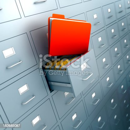 Filing cabinet with folders in drawer - isolated on white with clipping path