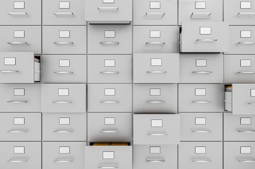 Filing cabinets with open drawers - data collection concept