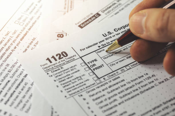filing corporation income tax return form 1120 stock photo