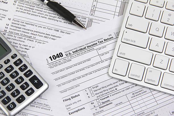 Filing online taxes before deadline stock photo