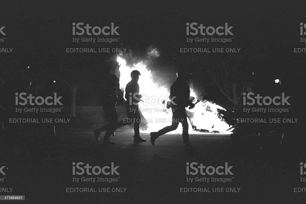 Filing Past Burning Radio Car stock photo