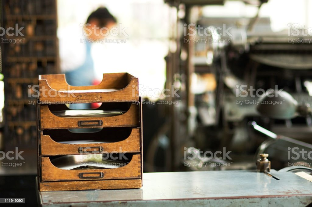 Filing Shelves in old Printing Shop stock photo