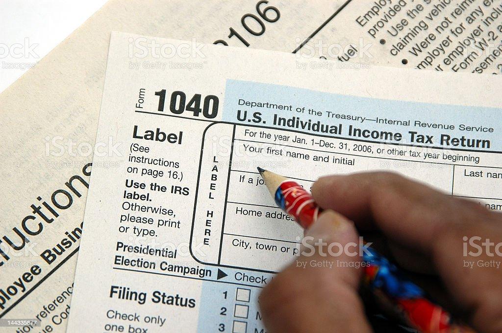 Filing tax return stock photo