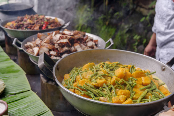 filipino style lunch buffet in philippines - philippines stock photos and pictures