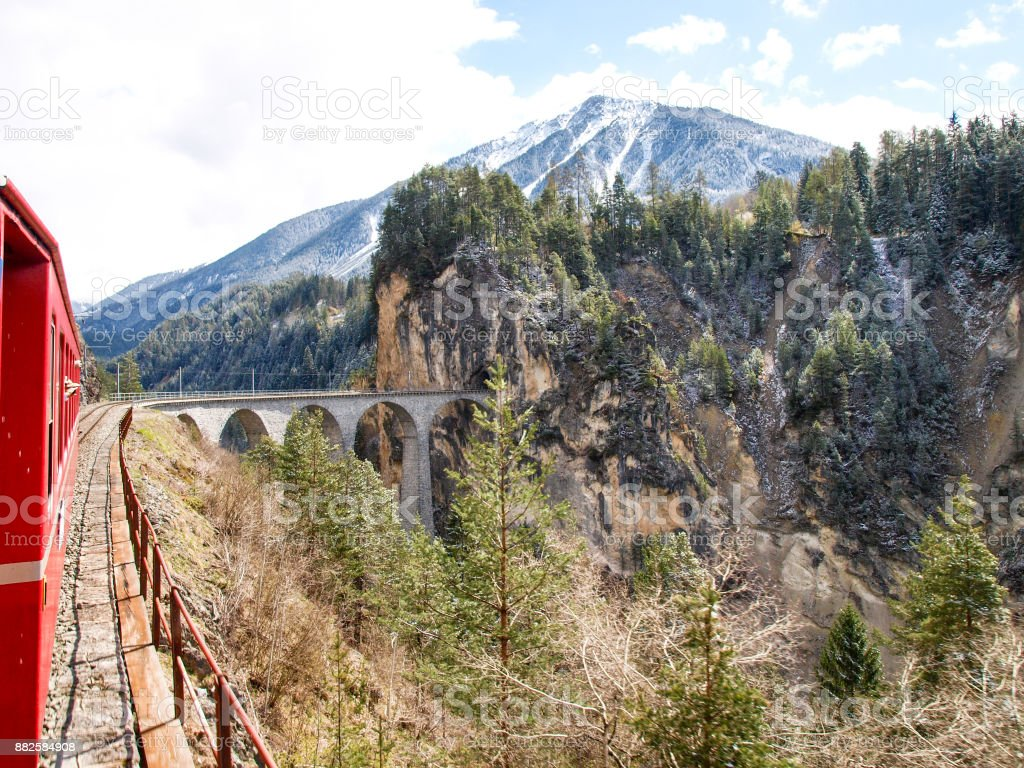 Filisur. The Landwasser Viaduct stock photo