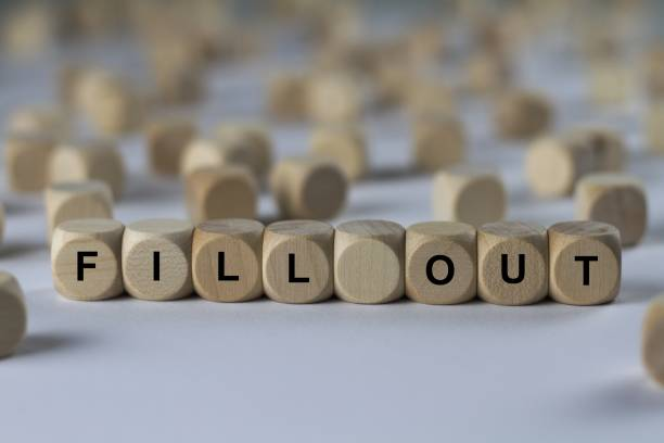 fill out - cube with letters, sign with wooden cubes series of images: cube with letters, sign with wooden cubes aggrandize stock pictures, royalty-free photos & images