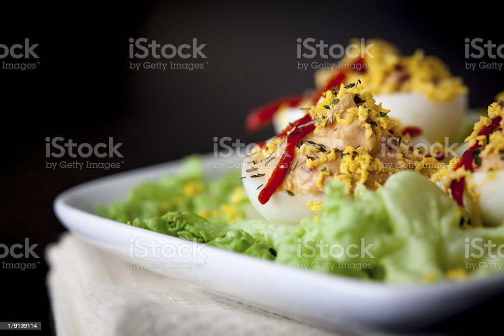 Filled boiled eggs royalty-free stock photo