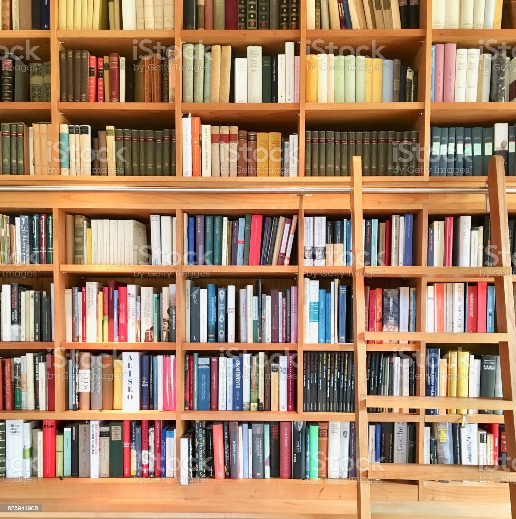 Filled books shelf close up with a ladder stock photo
