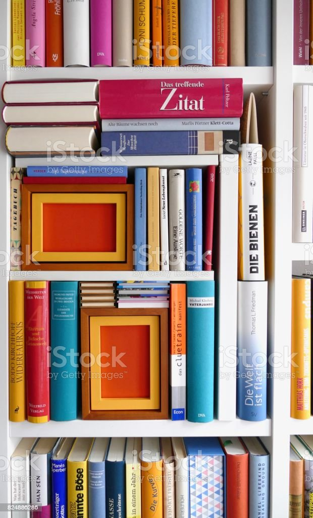 Filled books shelves with some backgrounds as space for copy stock photo