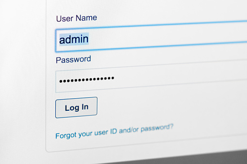 istock Filled login and hidden by dots password at login screen on the website 905301014