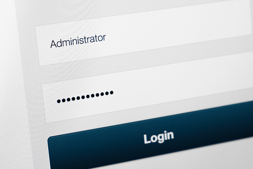 istock Filled login and hidden by dots password at login screen on the website 905301048