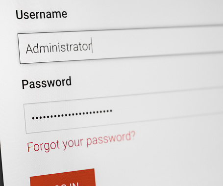 istock Filled login and hidden by dots password at login screen on the website 959223156