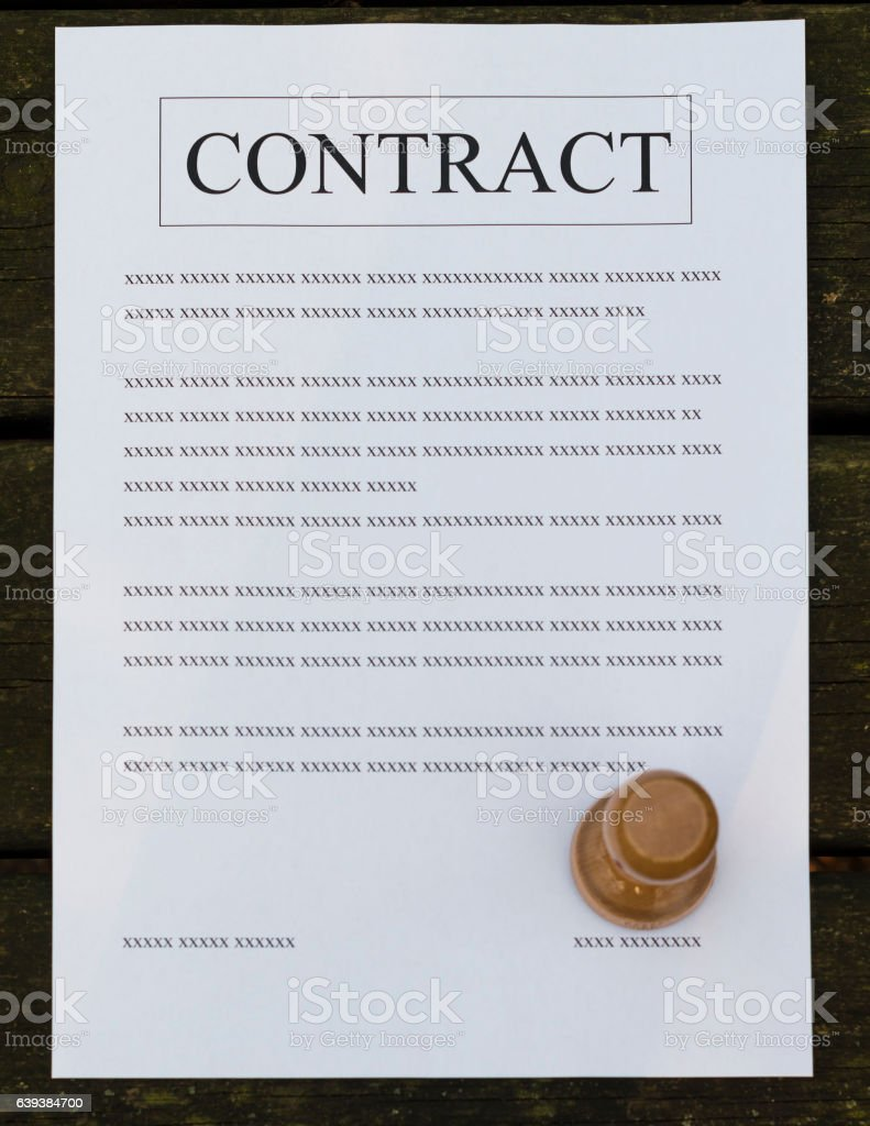 Filled paper contract stock photo